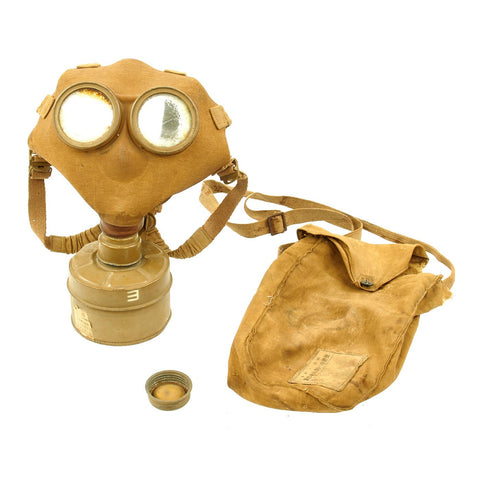 Original Imperial Japanese WWII Gas Mask with Filter and Carry Bag - dated 1941 Original Items