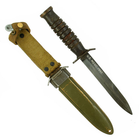 Original U.S. WWII 1943 Dated Blade Marked M3 Fighting Knife by Utica Cutlery with Updated M8 Scabbard Original Items