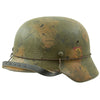 show larger image of product view 4 : Original German WWII M40 Refurbished Double Decal Normandy Camouflage SS Helmet - marked EF66 Original Items