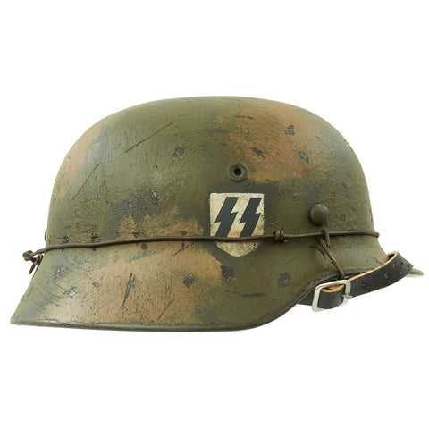 Original German WWII M40 Refurbished Double Decal Normandy Camouflage SS Helmet - marked EF66 Original Items