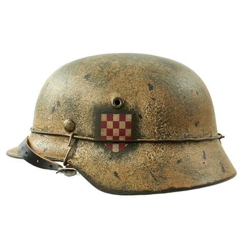 "Original German WWII Refurbished M40 13th SS ""Handschar"" (1st Croatian Division) Winter Helmet - ET66 Original Items"