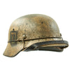 "show larger image of product view 8 : Original German WWII Refurbished M40 13th SS ""Handschar"" (1st Croatian Division) Winter Helmet - ET66 Original Items"