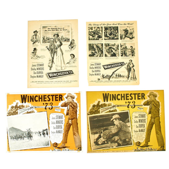 Original U.S. Vintage Winchester '73 Film International Lobby Card and 1960 Life Magazine Advertisement Collection Original Items