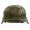 show larger image of product view 3 : Original German WWII Refurbished M40 Heer Double Decal Chicken Wire Helmet with Original Paint - Stamped EF66 Original Items