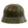 show larger image of product view 5 : Original German WWII Refurbished M40 Heer Double Decal Chicken Wire Helmet with Original Paint - Stamped EF66 Original Items
