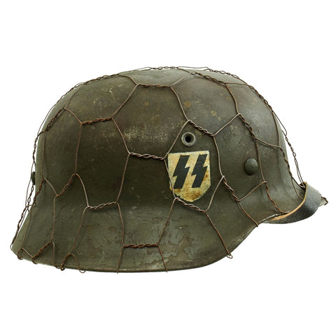 Original German WWII Refurbished M40 Heer Double Decal Chicken Wire Helmet with Original Paint - Stamped EF66 Original Items