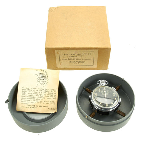 Original WWII U.S. A.A.C. Unissued Shock Absorbing Case for Navigation Pocket Watch with Type A-8 Watch Original Items