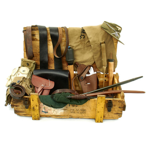 Trunk of Assorted Grade 2 Original Military Antiques and Reproductions - Box 74 Original Items