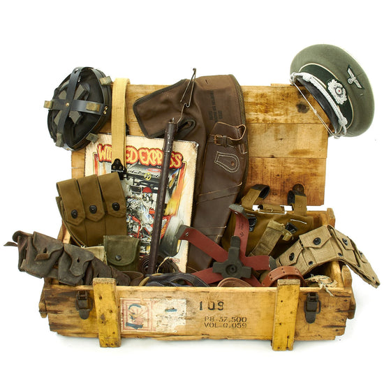 Trunk of Assorted Grade 2 Original Military Antiques and Reproductions - Box 82 Original Items