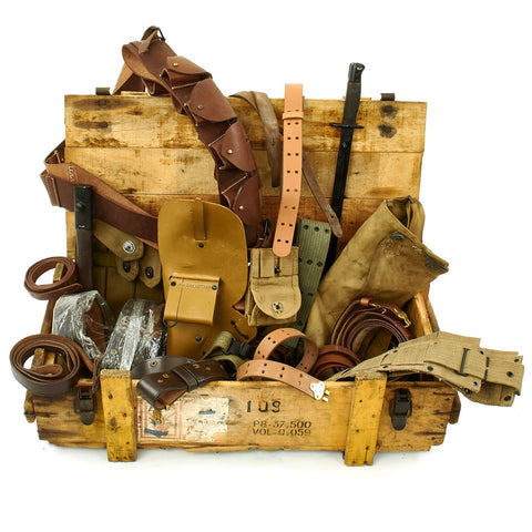 Trunk of Assorted Grade 2 Original Military Antiques and Reproductions - Box 80 Original Items