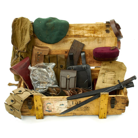 Trunk of Assorted Grade 2 Original Military Antiques and Reproductions - Box 77 Original Items