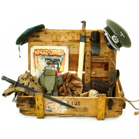 Trunk of Assorted Grade 2 Original Military Antiques and Reproductions - Box 78 Original Items
