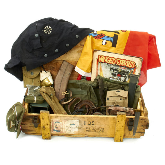 Trunk of Assorted Grade 2 Original Military Antiques and Reproductions - Box 81 Original Items