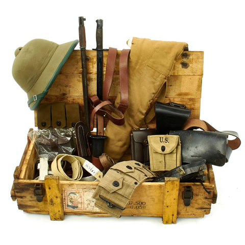 Trunk of Assorted Grade 2 Original Military Antiques and Reproductions - Box 83 Original Items