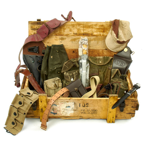 Trunk of Assorted Grade 2 Original Military Antiques and Reproductions - Box 84 Original Items