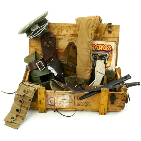 Trunk of Assorted Grade 2 Original Military Antiques and Reproductions - Box 85 Original Items