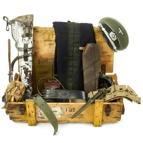 Trunk of Assorted Grade 2 Original Military Antiques and Reproductions - Box 86 Original Items