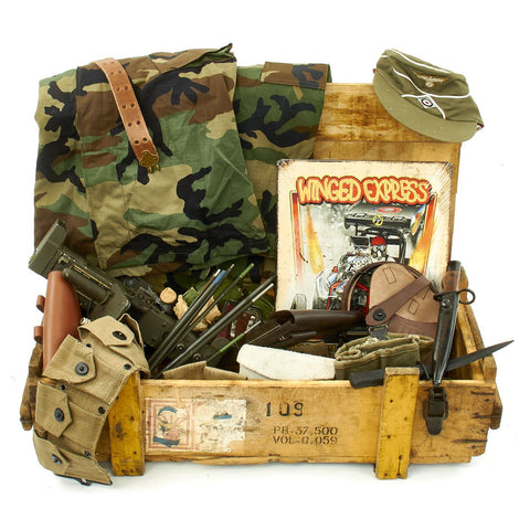 Trunk of Assorted Grade 2 Original Military Antiques and Reproductions - Box 89 Original Items