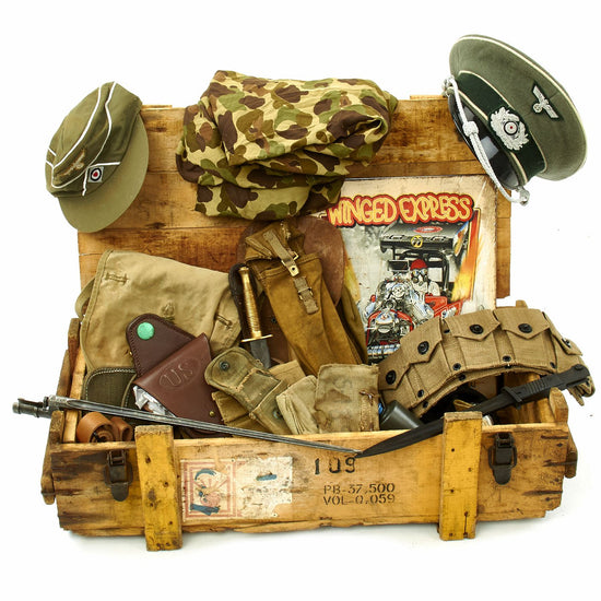Trunk of Assorted Grade 2 Original Military Antiques and Reproductions - Box 92 Original Items