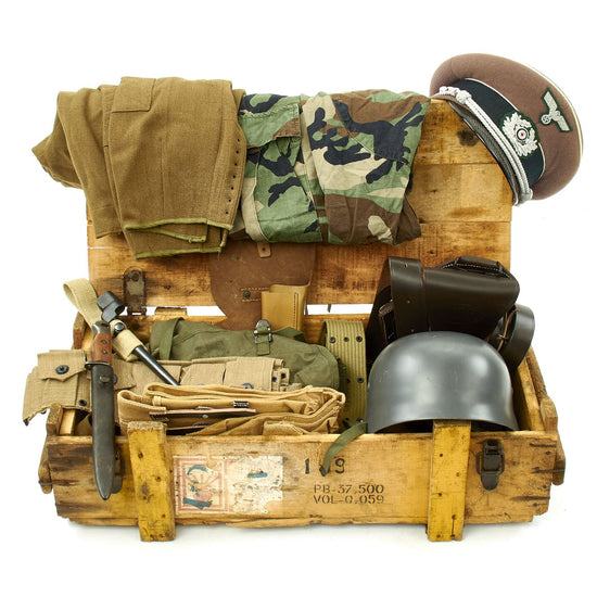 Trunk of Assorted Grade 2 Original Military Antiques and Reproductions - Box 93 Original Items