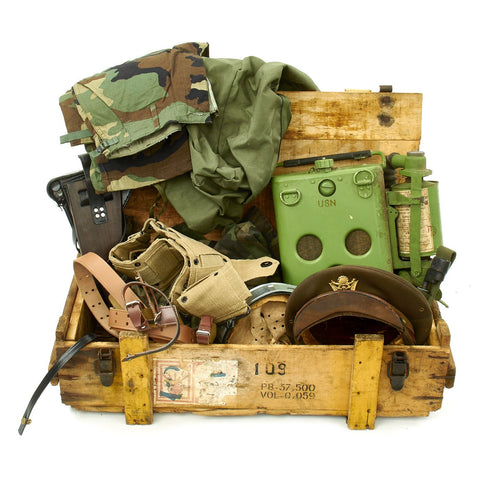 Trunk of Assorted Grade 2 Original Military Antiques and Reproductions - Box 94 Original Items