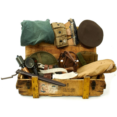 Trunk of Assorted Grade 2 Original Military Antiques and Reproductions - Box 95 Original Items