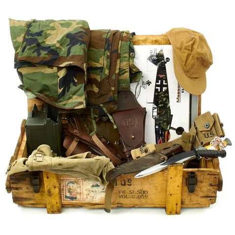 Trunk of Assorted Grade 2 Original Military Antiques and Reproductions - Box 98 Original Items