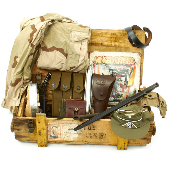 Trunk of Assorted Grade 2 Original Military Antiques and Reproductions - Box 76 Original Items