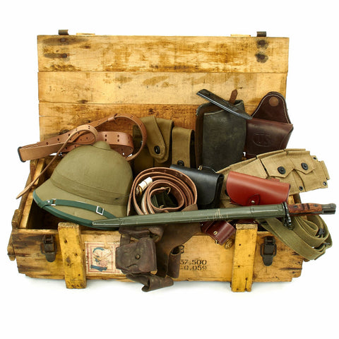 Trunk of Assorted Grade 2 Original Military Antiques and Reproductions - Box 75 Original Items