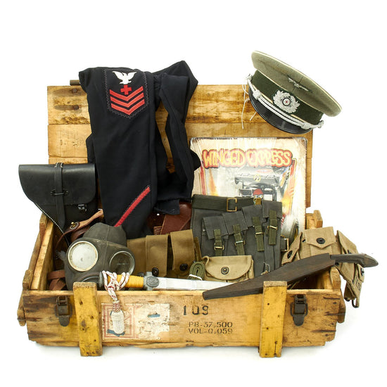 Trunk of Assorted Grade 2 Original Military Antiques and Reproductions - Box 99 Original Items