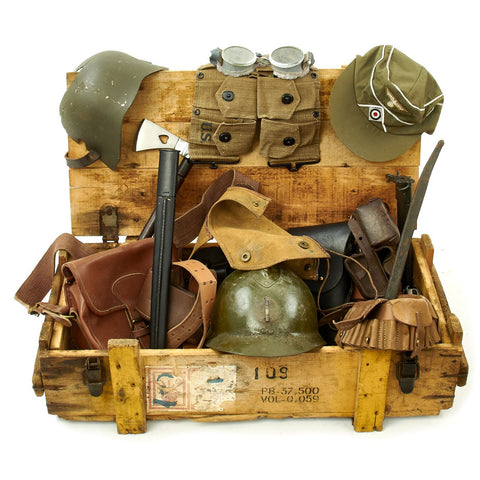 Trunk of Assorted Grade 2 Original Military Antiques and Reproductions - Box 102 Original Items