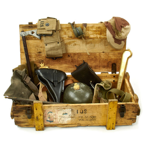 Trunk of Assorted Grade 2 Original Military Antiques and Reproductions - Box 103 Original Items