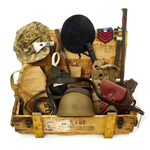 Trunk of Assorted Grade 2 Original Military Antiques and Reproductions - Box 104 Original Items
