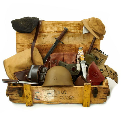 Trunk of Assorted Grade 2 Original Military Antiques and Reproductions - Box 105 Original Items