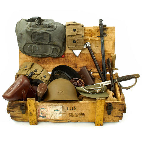 Trunk of Assorted Grade 2 Original Military Antiques and Reproductions - Box 106 Original Items