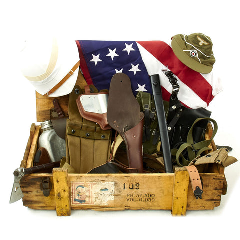 Trunk of Assorted Grade 2 Original Military Antiques and Reproductions - Box 108 Original Items
