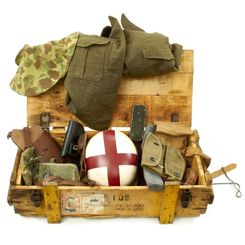 Trunk of Assorted Grade 2 Original Military Antiques and Reproductions - Box 111 Original Items