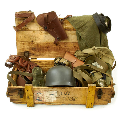 Trunk of Assorted Grade 2 Original Military Antiques and Reproductions - Box 113 Original Items