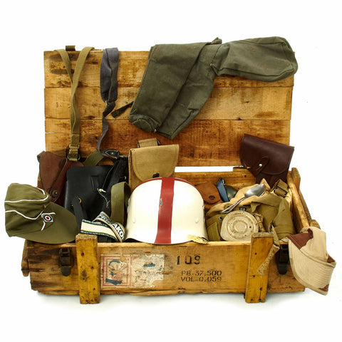 Trunk of Assorted Grade 2 Original Military Antiques and Reproductions - Box 114 Original Items