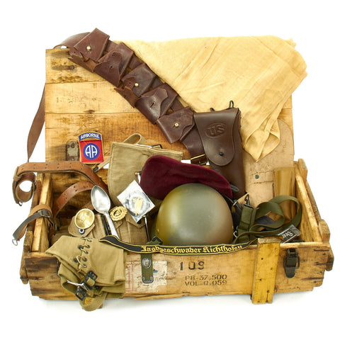 Trunk of Assorted Grade 2 Original Military Antiques and Reproductions - Box 115 Original Items