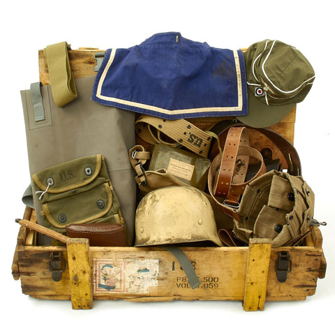 Trunk of Assorted Grade 2 Original Military Antiques and Reproductions - Box 117 Original Items