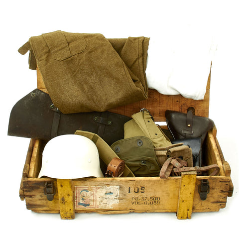 Trunk of Assorted Grade 2 Original Military Antiques and Reproductions - Box 120 Original Items
