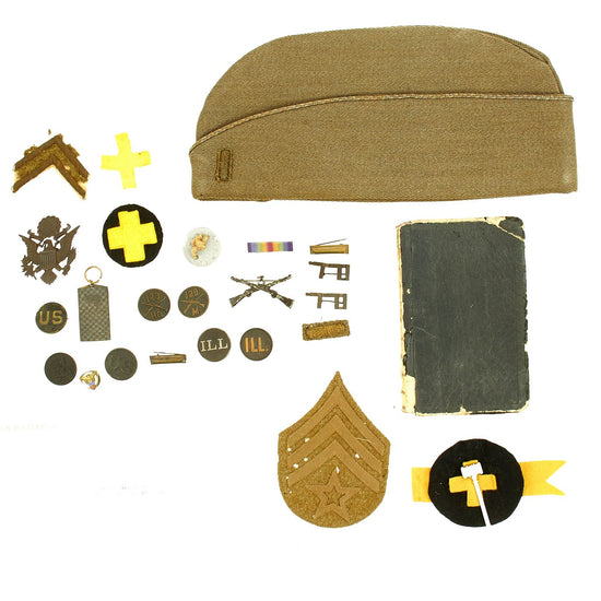 Original U.S. WWI Named 129th Infantry Regiment Diary - Insignia - Garrison Cap Grouping Original Items
