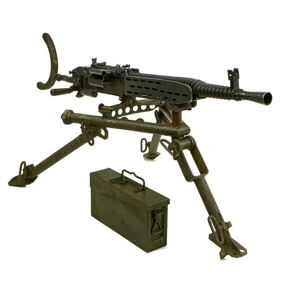 Original German WWII ZB 37(t) Display Machine Gun with Ground Mount Tripod, Ammo Can & Belt Original Items