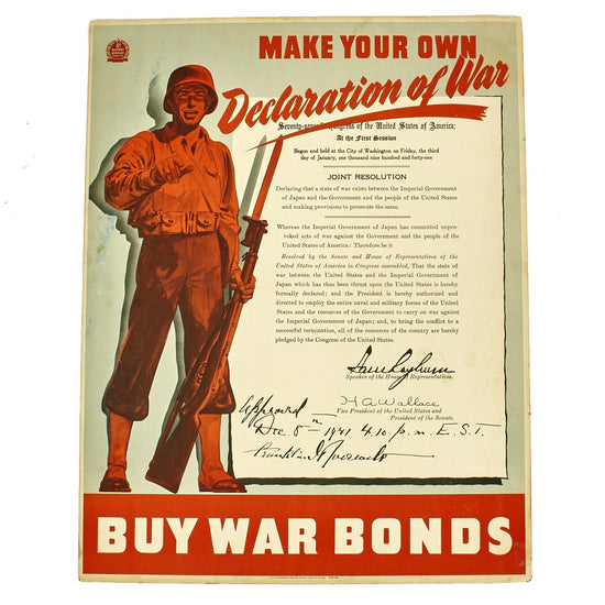 Original U.S. WWII Propaganda Poster - Make Your Own Declaration of War: Buy War Bonds Original Items