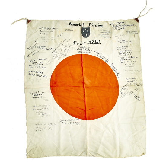 "Original Japanese WWII Guadalcanal Captured USGI Signed Silk ""Meatball"" Flag - 132nd Infantry Regiment Original Items"