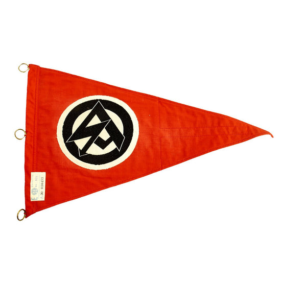 Original German WWII SA Vehicle Staff Car Pennant Flag with RZM A4/655 Tag - Unissued Original Items