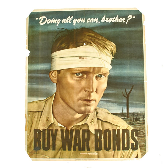 Original U.S. WWII 1943 Doing All You Can Brother? Buy War Bonds Poster Original Items