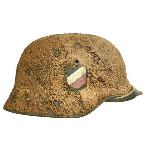 Original German WWII Refurbished M40 Deutsches Afrikakorp DAK Textured Helmet with Painted Palm - EF66 Original Items