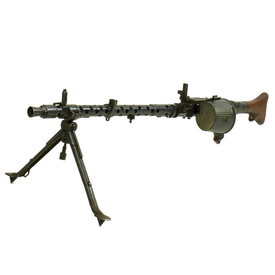 Original German WWII MG 34 Display Machine Gun with Basket Carrier - marked dfb 41 Original Items